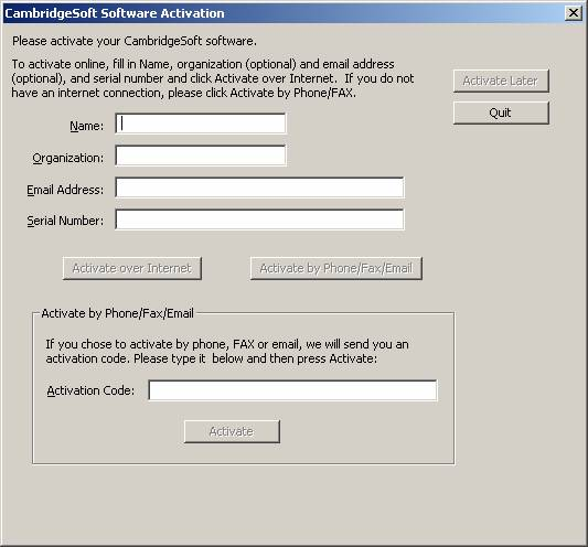 CambridgeSoft Activation Screenshot