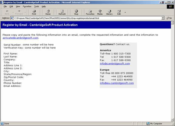 CambridgeSoft Product Activation Register Screenshot