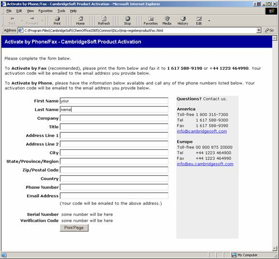 CambridgeSoft Product Activation by Phone Fax Screenshot